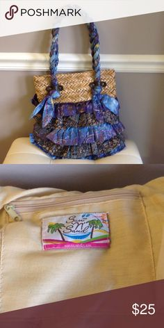 Basket weave and tiered fabric purse Straw purse with fabric ruffles and braided shoulder straps Sun and sand Bags Shoulder Bags