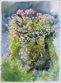 Heligan Pot pink & white flowers still life Watercolour
