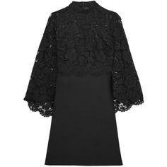 Valentino Cape-back corded lace and wool and silk-blend mini dress (76.259.455 VND) ❤ liked on Polyvore featuring dresses, black, mini dress, high neck cocktail dress, vintage style dresses, short lace dress and bell sleeve mini dress