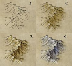 draw, shade, and colour a mountain range How to draw mountains on Fantasy Maps, by map cartography resource tool how to tutorial instructions Fantasy Map Making, Fantasy Art, Fantasy Rooms, Art Sketches, Art Drawings, Rpg Map, Mountain Drawing, Mountain Sketch, Creation Art