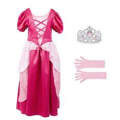 Ce déguisement d'Aurore transforme une petite fille en Princesse, en un clin d'oeil. Des manches bouffantes, une matière soyeuse et de jolies couleurs, la petite fille est fière de sa robe. Elle peut maintenant inventer un grand nombre d'histoires merveilleuses avec ses amies.