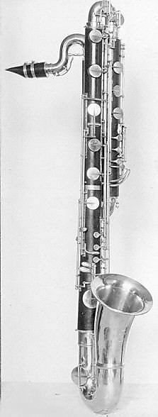 Contrabass clarinet in B flat by Besson & Co. Why is the moutpiece upside down? Unless that's a special style mouthpiece or something...
