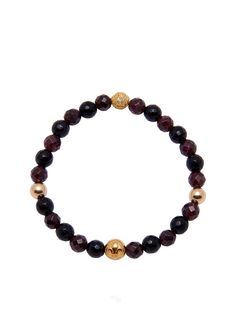 Elastic Bracelet With Gold and Garnet