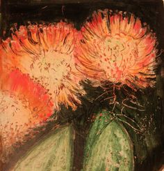 Oil pastel and ink Protea study from Narcissus.