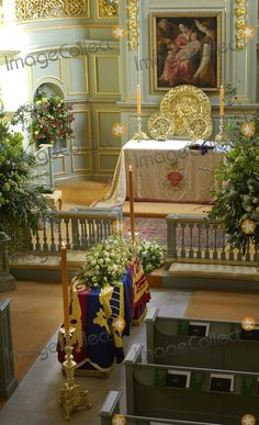 The coffin of Princess Margaret lies at rest in St. James' Palace ahead of her funeral service at St.