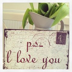 Love this new sign Ps I love you Wooden sign made to look like a vintage aged metal sign Postcard design Hooks on back ready to wall hang Approx 24 Ps I Love You, Because I Love You, Metal Signs, Wooden Signs, Aging Metal, Postcard Design, Hanging Signs, New Sign, Valentine Gifts
