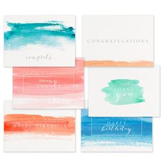 Watercolor Occasions Collection Thank You Notes, Thank You Cards, Blank Cards And Envelopes, Types Of Printing, Congratulations Card, Personalized Stationery, Design Show, Note Cards, Birthday Cards