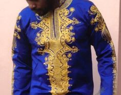 Odeneho Wear Men's Polished Cotton Top With Dashiki by Odenehowear African Attire For Men, African Print Fashion, African Wear, African Fashion Dresses, African Dress, African Style, African Shirts, African Clothes, Embroidery Fashion