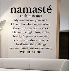 namaste definition quote Wall Decal namaste Vinyl Sticker Art Decor Bedroom Design Mural home decor room decor trendy modern yoga peace love