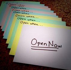 """Open When"" letter ideas for a friend or boyfriend/girlfriend. Such a thoughtful fun gift!"