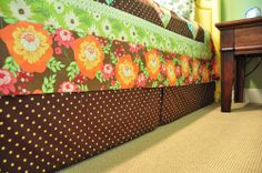 How to make a bed skirt that velcros to the box springs.  No slipping and sliding!  Blogger has a great tutorial.