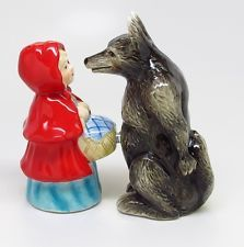 LITTLE RED RIDING HOOD / CAP AND BIG BAD WOLF CERAMIC SALT & PEPPER SHAKERS.CUTE