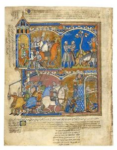 David Orders the Destruction of Sheba; Joab Slays Amasa; Joab Brokers Peace   Fol. 43v   The Morgan Library & Museum