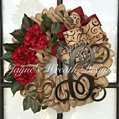 Burlap Wreath with Burgundy Hydrangeas and Initial by Jayne's Wreath Designs on fb and Instagram