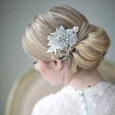 Wedding Upstyles & Bridal Hairdos :: Bun with Crystal and Pearl Haircomb from  Powder Blue Bijoux :: Photography by www.maruphoto.ca