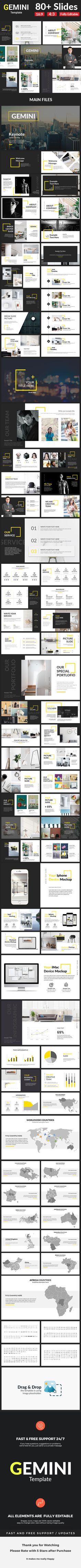 Gemini Creative Keynote Template Creative Keynote Templates - Keynote - Ideas of Keynote - Gemini Creative Keynote Template Creative Keynote Templates Graphisches Design, Slide Design, Layout Design, Layout Template, Keynote Template, Layout Inspiration, Graphic Design Inspiration, Presentation Layout, Creative Powerpoint Templates