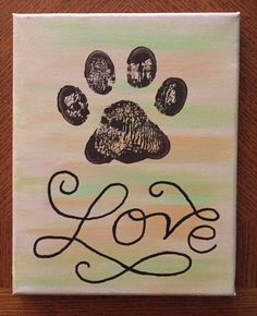 Adorable dog paw print acrylic painting by Kim Mlyniec