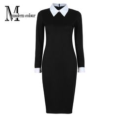 Find More Dresses Information about Black Office Dresses Women 2016 Autumn New Arrivals Fashion Long Sleeve Pencil Dress Ladies Casual Work Dress With White Collar,High Quality dress long sleeve tunic dress,China dress clothes Suppliers, Cheap dress container from Modern Colour  on Aliexpress.com