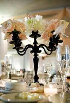 Another way to use candlelabras if your venue does not allow candles.