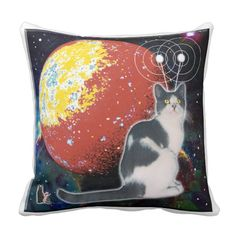Robo-Cat Hobo Throw Pillow. You will enjoy lounging in fashion when you relax with a Robo Cat Hobo Pillow, for his loving spirit will join you in your leisure time. He is soft and smooth. Gently stroke your Space Cat Throw Pillow and imagine it purring for you. A comforting thought, yes? Over 3000 products at my Zazzle online store. Open 24/7  World wide! Custom one-of-a-kind items shipped to your door. This art is exclusively @  http://www.zazzle.com/greg_lloyd_arts*?rf=238198296477835081