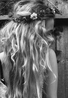 Festival wedding hair with flower headband