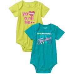 Faded Glory Newborn Girl Spanish Attitude Bodysuits, 2-Pack