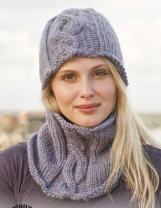 KNITTING PATTERN Cable Beanie Hat & Cowl Neck Warmer & Gloves  Magazine Extract