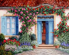 Barbara Felisky Rose Around The Door painting is available for sale; this Barbara Felisky Rose Around The Door art Painting is at a discount of off. Online Gallery, Art Gallery, Brick Garden, Cottage Art, Cottage Door, Painted Doors, Architecture, House Painting, Windows And Doors