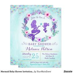 Mermaid Baby Shower Invitation Sprinkle A little mermaid is on the way, let's help mommy get ready for her big day! This purple, teal and gold mermaid mom and baby invite is perfect for your baby shower or sprinkle! Distintivos Baby Shower, Mermaid Baby Showers, Baby Shower Themes, Baby Shower Mermaid Theme, Shower Ideas, Mermaid Birthday, Mermaid Baby Shower Decorations, Girl Shower, Free Baby Shower Invitations