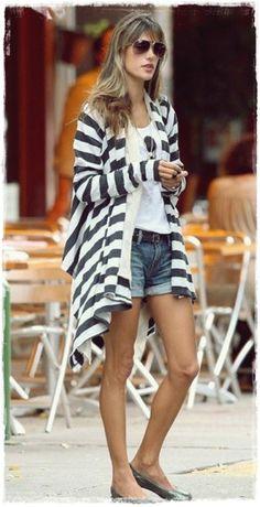 #Alessandra #Ambrosio #Street #Style Snapshot - In Pencey Striped Wrap and Custom Jeans Beatnik Shorts