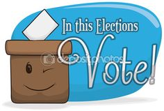 Banner with Ballot Box Winking and Inviting You to Vote