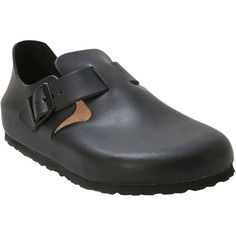 Birkenstock Unisex Hunter London Soft Footbed Clog Slip-On ($170) ❤ liked on Polyvore featuring shoes, clogs, black, water resistant shoes, black clog shoes, elastic shoes, clog shoes and slip on clogs