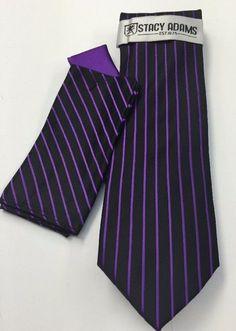 Stacy Adams Tie & Hanky Set Purple & Black Men's Hand Made 100% Microfiber #StacyAdams #Tie
