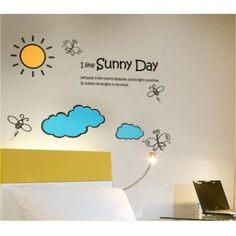 I like sunny day sun cloud wall decal Kids Wall Decals, Vinyl Wall Stickers, Vinyl Wall Art, Colorful Flowers, Sunny Days, Sunnies, Nursery, Clouds, Children