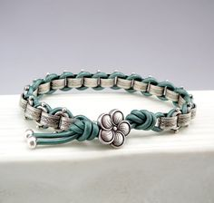 Casual Teal Leather Bracelet Leather and Chain by TouchOfSilver