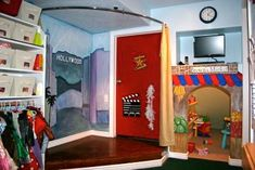Make a stage w/ shower curtain and rod
