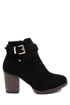Criss-Cross Chunky Heel Suede Ankle Boots BLACK: Boots | ZAFUL