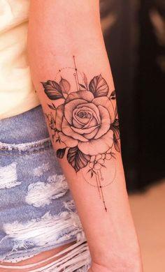 Feminine tattoos on the arm: The 80 best ideas. - Photos and Tattoos - Feminine. - Feminine tattoos on the arm: The 80 best ideas. – Photos and Tattoos – Feminine tattoos on the - Tattoo Femeninos, Rose Tattoo Forearm, Body Art Tattoos, Girl Tattoos, Sleeve Tattoos, Tattoo Half Sleeves, Female Hand Tattoos, Tatoos, Crow Tattoos
