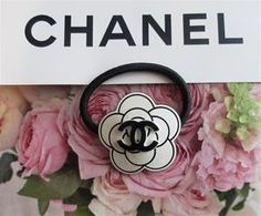 Chanel CC VIP gift White Camellia Flower Hair Accessories Hair Tie Ponytail Holder RARE & NOT sold in stores. www.lechicdame.com