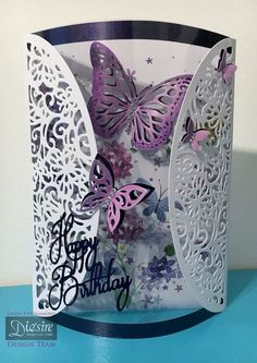 Gatefold card using Crafter's Companion Die'sire Create-A-Card Decorative Die – Butterfly Swirls. Designed by Linda Fitzsimmons #crafterscompanion