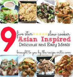 9 Easy and Delicious Slow Cooker Asian inspired meals at http://therecipecritic.com  No need for take out when you can make delicious meals at home!  All of your favorites including cashew chicken, beef and broccoli, honey sesame chicken, and more in one spot!