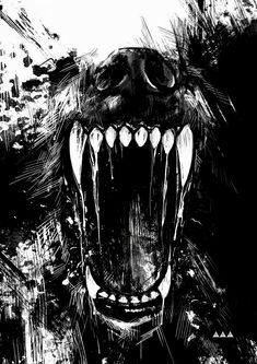 Wolf Tattoos, Bear Tattoos, Wolf Tattoo Back, Fantasy Wolf, Dark Fantasy Art, Dark Art, Wolf Tattoo Design, Tooth Tattoo, Teeth Drawing