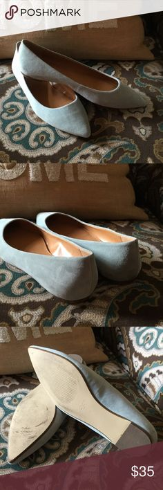 Flats Blue J Crew flats...super cute with skinny jeans... wore once too small for me ugh!!! EUC..suede leather ....my loss is your gain :) J Crew Shoes Flats & Loafers