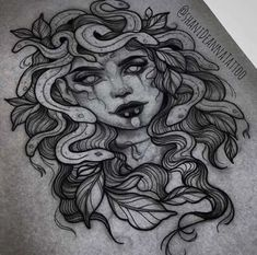 A sea version of Medusa on the thigh M Tattoos, Finger Tattoos, Tattoo Drawings, Body Art Tattoos, Sleeve Tattoos, Tattoos For Guys, Medusa Tattoo Design, Tattoo Designs, Medusa Drawing