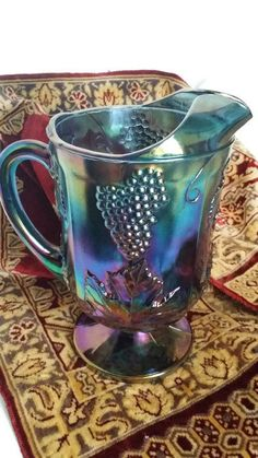 Vintage Blue Indiana Glassware Harvest Grape Water Pitcher, Carnival Glass, Iridescent Blue, Wedding,1960's, by colonialcrafts on Etsy