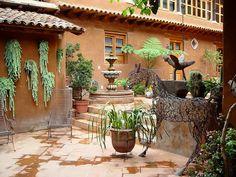 The courtyard at La Casa Encantada, a Colonial hotel in Patzcuaro, Michoacan, Mexico.