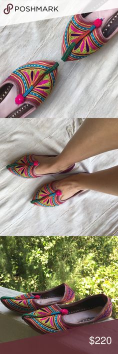 India handmade pointy flats From Rajasthan 🐫✨ Handmade pointy embroidered leather flats I bought in Rajasthan, India 🐫✨ size 7.5, roomy, cushioned & very comfy, only worn once. Not sure I'm ready to part with these beauties, so price will remain a premium 👍❤️ Vintage Shoes Flats & Loafers