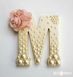 Decorative Wooden Letter for Baby Shower, Bridal Shower, or Nursery ~ 6 inch ~ Personalized with Assorted Pearls and Vintage Flower Detail - DIY Home Project Nursery Letters, Diy Letters, Letter A Crafts, Letters In Frames, Pearl Letters, Button Letters, Cardboard Letters, Paper Mache Letters, Hanging Letters On Wall