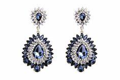 Indigo Blue Crystal Drop Earrings