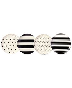 kate spade new york Raise a Glass Black and White Coasters